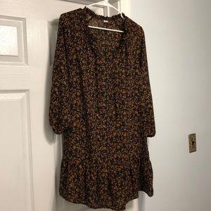 Black Floral Peasant Dress